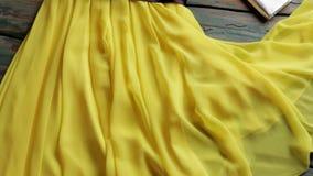 Monedero amarillo del vestido y de la plata almacen de metraje de vídeo