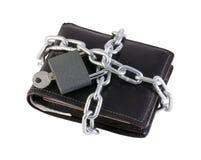 Monedero cerrado en el bloqueo Imagen de archivo libre de regalías
