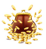 Monedero clásico del vintage con el dinero de las monedas de oro Imagenes de archivo
