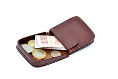 Monedero con el dinero Foto de archivo