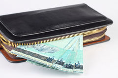 Monedero con el dinero Foto de archivo libre de regalías
