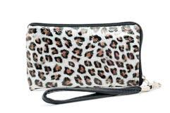 Monedero con la cremallera en leopardo barnizado Fotografía de archivo