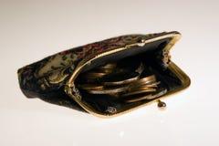 Monedero con las monedas Imagenes de archivo