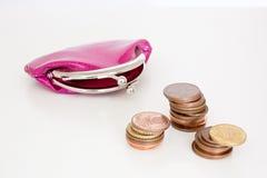 monedero con las monedas imagen de archivo libre de regalías