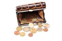 Monedero con las monedas euro Imagenes de archivo
