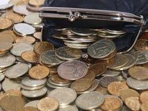 Monedero con las monedas y los dólares Imagenes de archivo