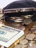 Monedero con las monedas y los dólares Fotos de archivo libres de regalías