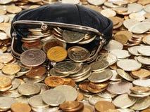 Monedero con las monedas y los dólares Fotografía de archivo
