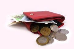 Monedero con las tarjetas del billete de banco y de crédito imagenes de archivo