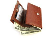 Monedero con los dólares Imágenes de archivo libres de regalías