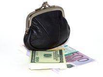 Monedero con los paquetes del dinero en circulación Foto de archivo libre de regalías