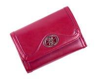 Monedero de cuero rojo - aislado en blanco Foto de archivo libre de regalías
