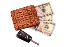 Monedero de moneda dolar del dinero del dinero del marrón del cuero del cocodrilo encendido aislado en el fondo blanco Imagen de archivo libre de regalías