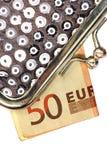 Monedero de plata con cincuenta euros Fotos de archivo libres de regalías