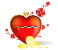 Monedero del corazón. Icono brillante Foto de archivo