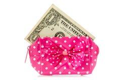 Monedero del encanto con el dólar Imagen de archivo libre de regalías