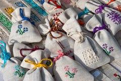 Monedero hecho a mano de la tradición rumana (pequeño) Imagen de archivo