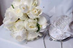 Monedero hermoso del blanco y de la boda Imagenes de archivo