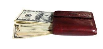 Monedero lleno de dinero Imágenes de archivo libres de regalías
