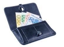 Monedero negro con los billetes de banco fotografía de archivo libre de regalías
