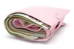 Monedero rosado gordo Fotos de archivo