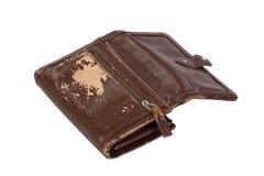 Monedero viejo de Brown aislado en blanco Fotos de archivo libres de regalías