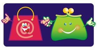 Monedero y bolso de compras Imagenes de archivo
