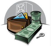 Monedero y dinero Foto de archivo libre de regalías