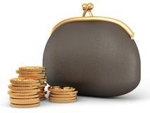 Monedero y monedas Fotos de archivo libres de regalías
