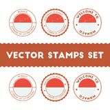 Monegasque flag rubber stamps set. National flags grunge stamps. Country round badges collection Royalty Free Stock Photos