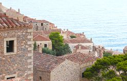 Monemvasia castle Peloponnese Greece Stock Photos