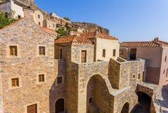 Monemvasia a cidade medieval em Peloponnese Foto de Stock