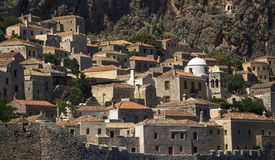 Monemvasia Greek island view of stone houses. Travel. Royalty Free Stock Photography