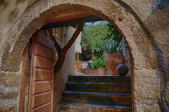 Monemvasia island in Peloponnese, Greece and cruise ship Stock Photos