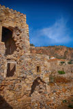 Monemvasia island in Peloponnese, Greece and cruise ship Stock Images