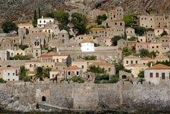 Monemvasia izolujący forteca, Grecja Zdjęcia Royalty Free