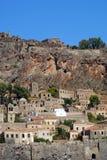 Monemvasia izolujący forteca, Grecja Fotografia Stock