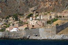 Monemvasia izolujący forteca, Grecja Fotografia Royalty Free