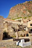 Monemvasia is located in Laconia, Peloponnese, Greece, on a small island. Monemvasia, the medieval castle town, is located in Laconia, Peloponnese, Greece, on a stock image