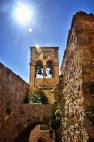 Monemvasia is located in Laconia, Peloponnese, Greece, on a small island stock images
