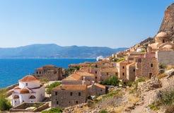 Monemvasia średniowieczny miasteczko w Peloponnese Zdjęcie Stock