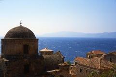 Monemvasia village in mountains on peninsula Monemvasia, Peloponnese, Greece/Beautiful ancient town Monem vasia, Greece stock image