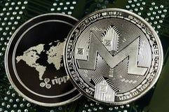 Monero è un modo moderno dello scambio e di questa valuta cripto immagine stock