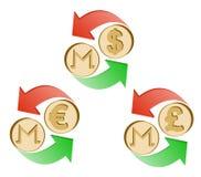 Monero ανταλλαγής στην ευρο- και βρετανικής λίβρα δολαρίων, διανυσματική απεικόνιση