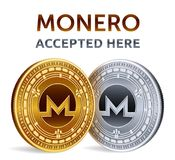 Monero. Accepted sign emblem. Crypto currency. Golden and silver coins with Monero symbol  on white background. 3D isometr. Ic Physical coins with text Accepted Royalty Free Stock Photos