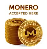 Monero. Accepted sign emblem. Crypto currency. Stack of golden coins with Monero symbol isolated on white background. 3D isometric. Physical coins with text Royalty Free Stock Photo