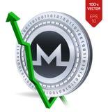Monero Accroissement Flèche verte vers le haut L'estimation d'index de Monero vont sur le marché des changes Crypto devise 3D piè Photographie stock libre de droits