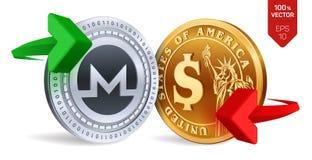 Monero al cambio del dollaro Monero Moneta del dollaro Cryptocurrency Monete dorate e d'argento con spirito di simbolo del dollar Royalty Illustrazione gratis