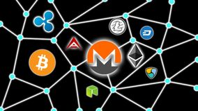 Monero Black Background, Cryptocurrency Blockchain Network. Cryptocurrency concept background show network of coins, various connectings through blockchain Royalty Free Stock Images