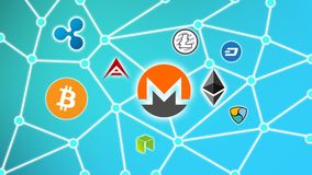 Monero Blue Background, Cryptocurrency Blockchain Network. Cryptocurrency concept background show network of coins, various connectings through blockchain Stock Photography